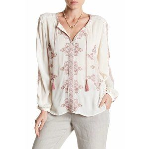 Lucky Brand Vintage Embroidered Peasant Top